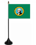Washington Desk / Table Flag with plastic stand and base.